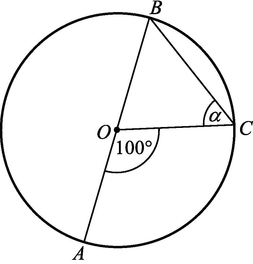 punkt O jest środkiem okręgu o średnicy AB