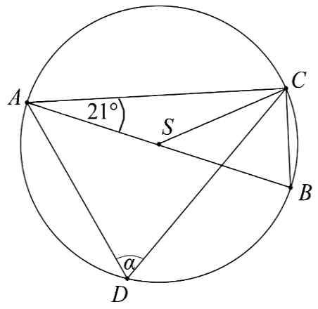 na okręgu o środku S leżą punkty A, B, C i D