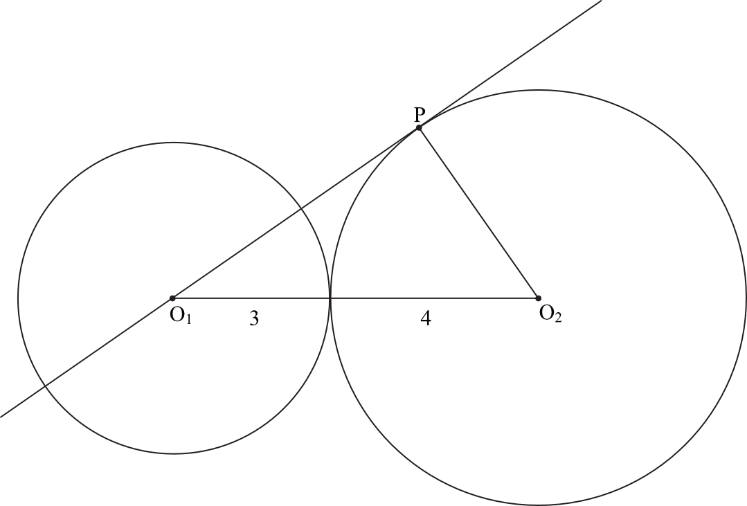 okręgi o promieniach 3 i 4 są styczne zewnętrznie