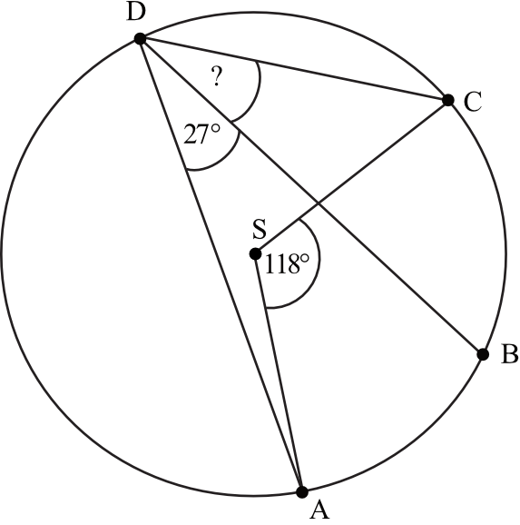 punkty ABCD leżą na okręgu o środku S