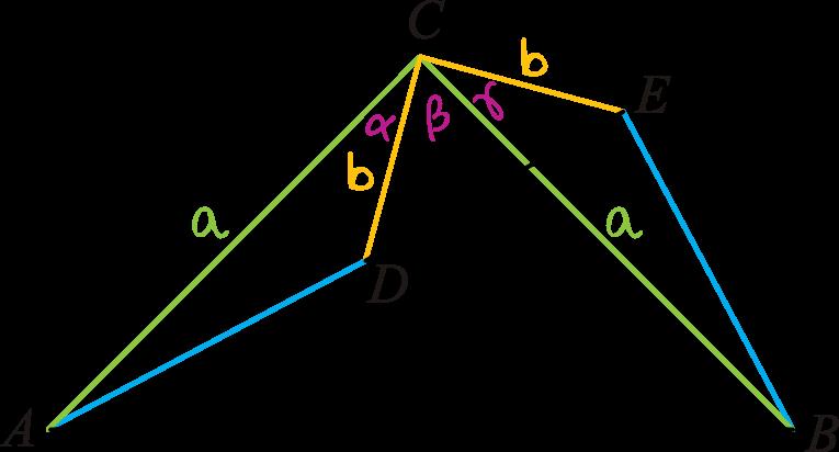 trójkąty prostokątne równoramienne ABC i CDE