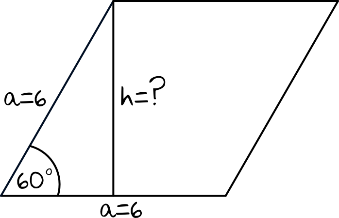 wysokość rombu o boku długości 6 i kącie ostrym 60 stopni jest równa
