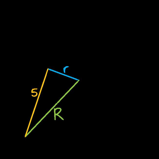 w pierścieniu kołowym cięciwa zewnętrznego okręgu ma długość 10 i jest styczna