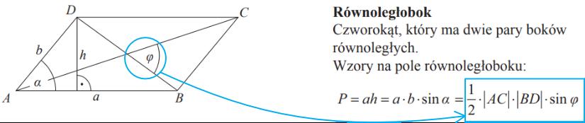 przekątne równoległoboku mają długości 4 i 8