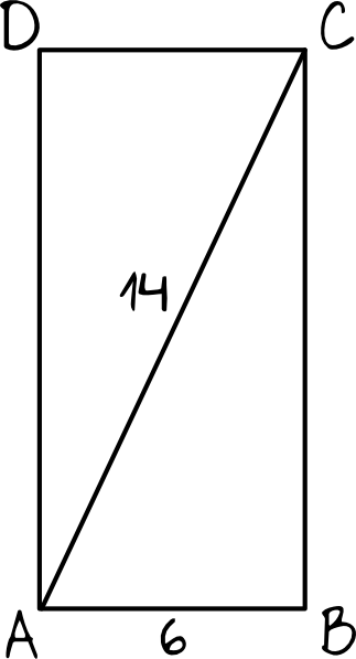 przekątna AC prostokąta ABCD ma długość 14